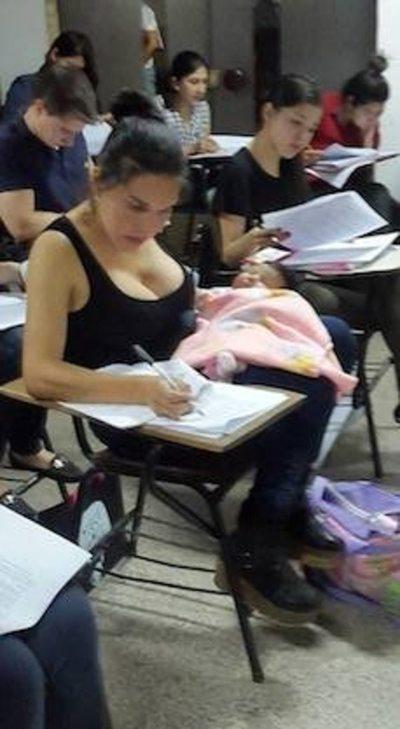 Tormenta, examen y bebé
