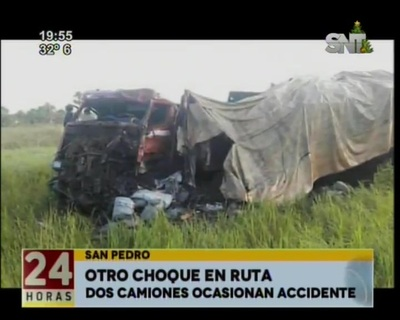Aparatoso choque entre tres camiones no dejó fallecidos