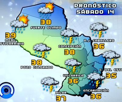 Sábado caluroso con ocasionales tormentas