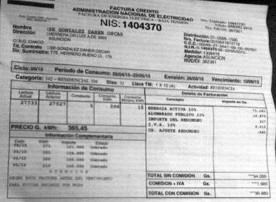El senador González Daher paga tarifa mínima a la ANDE