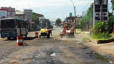 Reparan calles en la zona de obra de Metrobús