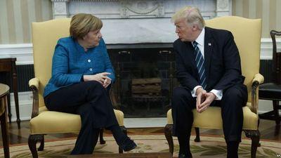 Trump recibió a Angela Merkel en la Casa Blanca