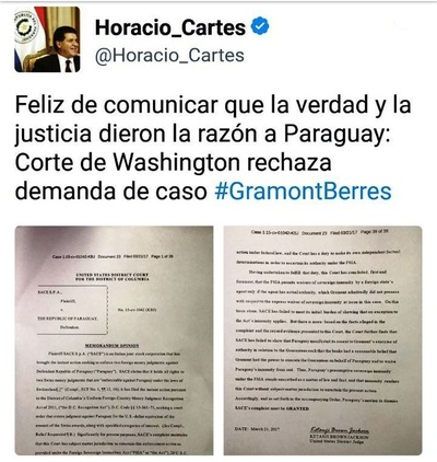 Corte de Washington rechaza demanda de caso Gramont Berres