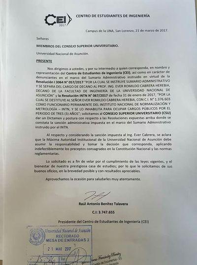 CEI de Ingeniería pide al Consejo Superior pronunciarse sobre el caso Cabrera
