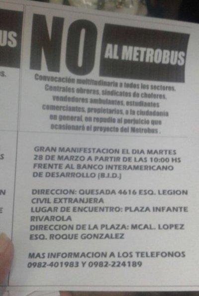 Repudiarán este martes el proyecto metrobús