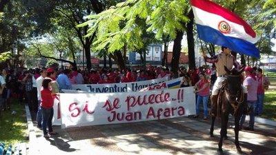 Marcha colorada por candidatura de Afara
