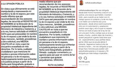 """Ruth Alcaraz Y Su Comunicado En Tono De """"advertencia"""""""