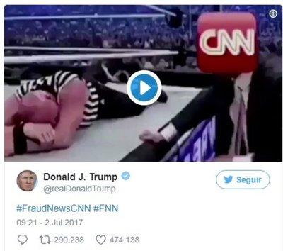 Trump y su golpe al logo del canal CNN