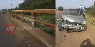 AUTOMÓVIL CHOCÓ CONTRA BARANDAL DEL PUENTE FLORIDA DE ARROYO PORÃ