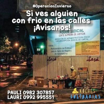 #NochesSolidarias: saldrán en caravana a combatir el frío