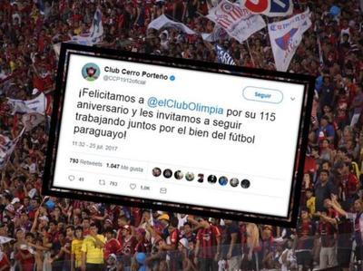 Cerro felicitó a Olimpia por su aniversario
