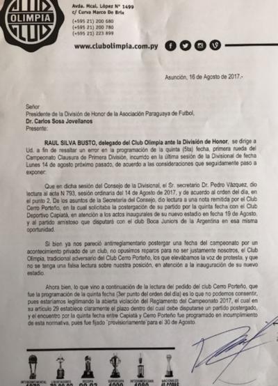 Olimpia protesta por programación de Cerro