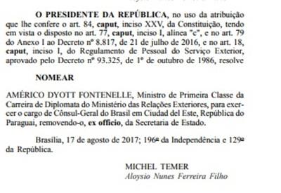 Brasil nomina a un polémico consul para Ciudad del Este