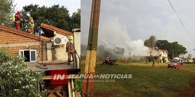 INCENDIO DE UNA VIVIENDA EN PLENO CENTRO DE MARIA AUXILIADORA.