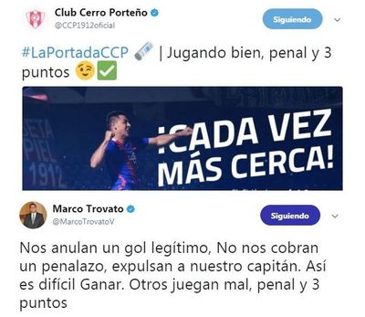 Los tuits de Trovato y la réplica de Cerro Porteño