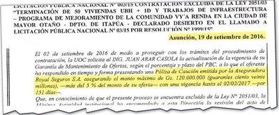 En Senavitat ocultaron contrato con póliza de la aseguradora Royal SA