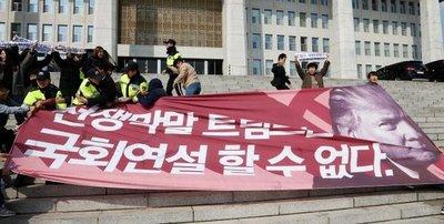 Convocan protestas en Corea del Sur en contra de Trump