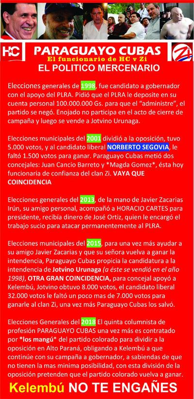 "Tratan de ""vendido"" a Paraguayo Cubas"