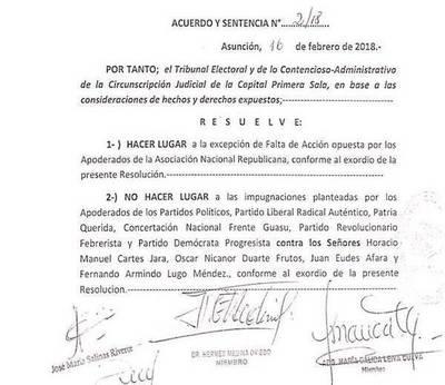 Rechazan impugnaciones contra Nicanor, Cartes, Afara y Lugo