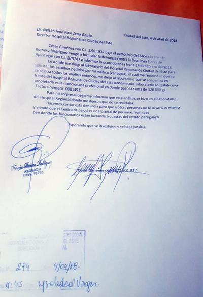 Asesoría jurídica investigará denuncia contra jefa de laboratorio
