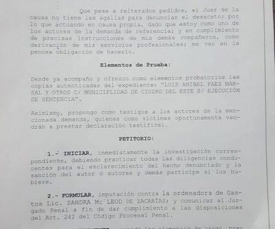 Presentan formal denuncia contra Sandra  de Zacarías por desacatar orden judicial