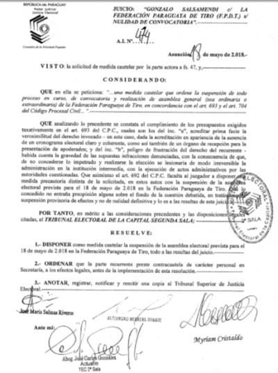 Tiro Deportivo: Tribunal suspende asamblea