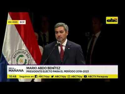 to decía Mario Abdo Benítez en su discurso durante la #ProclamacionPy