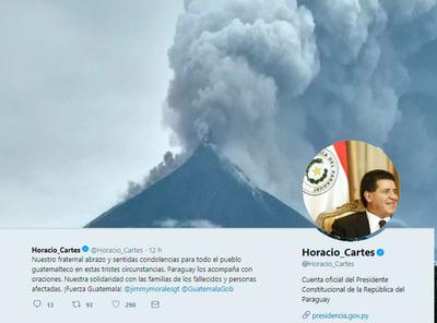 Cartes se solidarizó con Guatemala por erupción volcánica