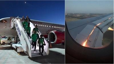 Avión de la selección de Arabia Saudí se incendia en pleno vuelo