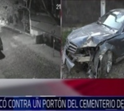 En contramano y a gran velocidad: Chocan contra portón de cementerio