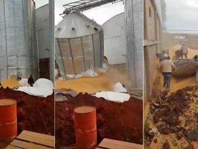 Trabajadores se salvan del colapso de un silo