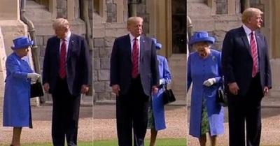 Donald Trump protagoniza bochorno ante la reina Isabel II