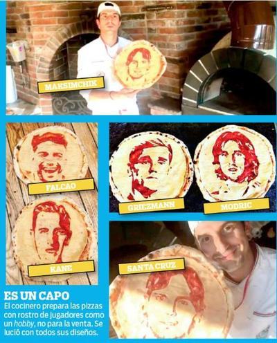 El rostro de Roque en una pizza en San Petersburgo