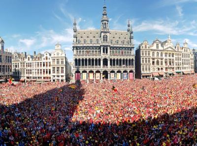 Recibieron como héroes a la Selección de Bélgica