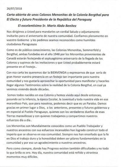 Carta abierta al electo Presidente Mario Abdo Benitez