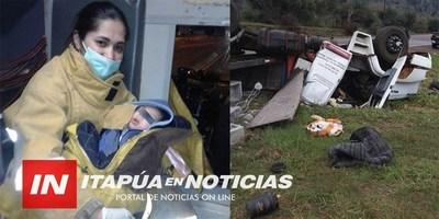 UNA BOMBERO SE VISTIÓ DE MAMÁ TRAS VIOLENTO ACCIDENTE SOBRE LA RUTA 6.
