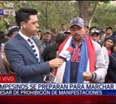 Campesinos marcharán este 15 de agosto a pesar de prohibición policial