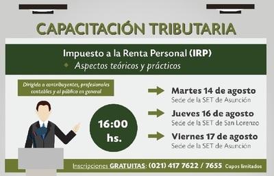 Hacienda dictará charlas gratuitas sobre IRP