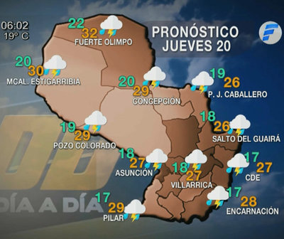 Precipitaciones con ocasionales tormentas eléctricas en todo el país
