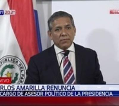Amarilla renuncia a asesoría de Presidencia, ¿para ir a Itaipú?