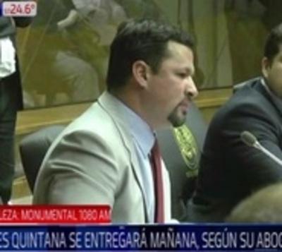 Quintana se presentará el viernes, asegura abogado