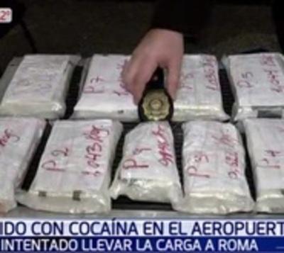 Paraguayo quiso viajar a Roma con 8 kilos de cocaína en su maleta