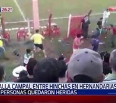 Batalla campal entre hinchas de fútbol en Hernandarias