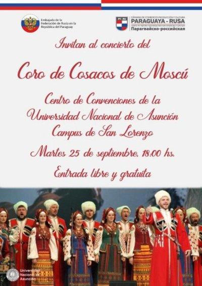 Coro de Cosacos de Moscú brindará concierto en la UNA