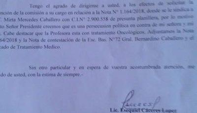 Concejal Ezequiel Cáceres denuncia persecución a su esposa docente