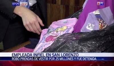 Empleada cae luego de tomar prendas de vestir por valor de G. 25 millones