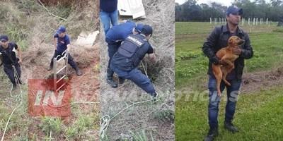 BOMBEROS RESCATAN A UN PERRO QUE CAYÓ A UN POZO DE CASI 100 METROS DE PROFUNDIDAD