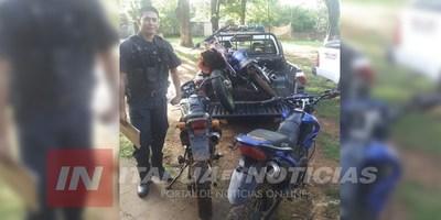 EN OPERATIVOS PREVENTIVOS INCAUTAN CUATRO MOTOCICLETAS