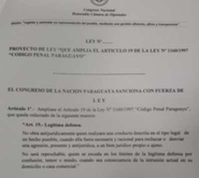 Presentan proyecto de ampliación de la ley de legítima defensa
