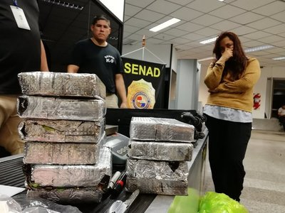 Senad detectó cocaína en maleta de pasajera con destino a España